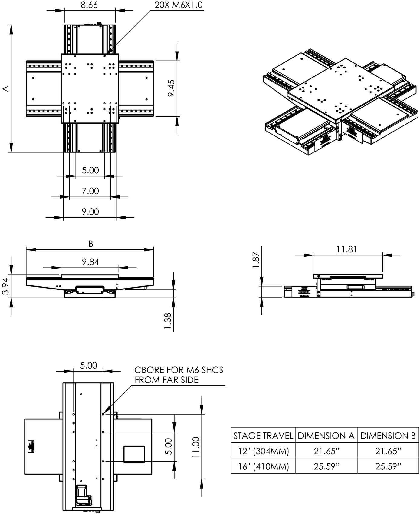 LP300E & LP400E XY Stage Dimension Drawings
