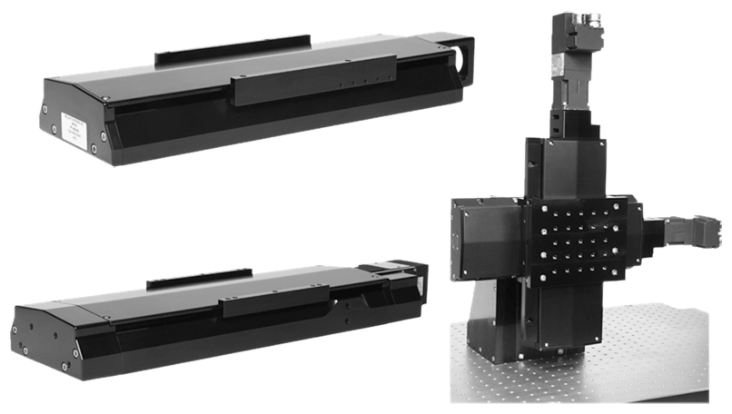 LS Series Stages; LS150 OEM Variant, Bolt-In Replacement for Bayside Stage; LS200 OEM Variant Used in Laser Cutting Tool; LS150 Stack with Custom Bracket and Carriage