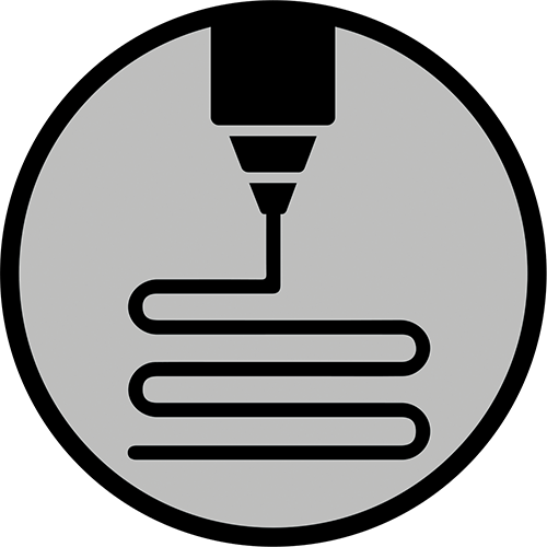 Icon that represents additive manufacturing/3D printing