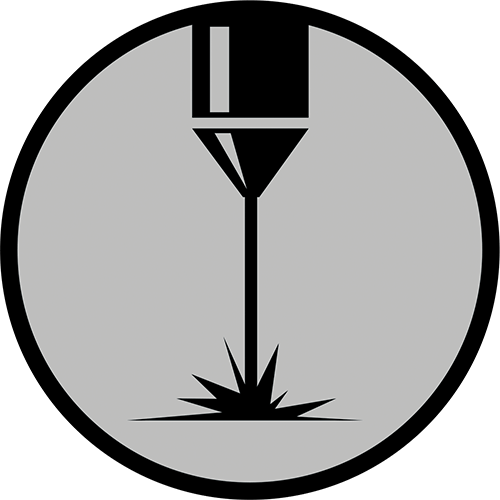 Icon that represents laser cutting